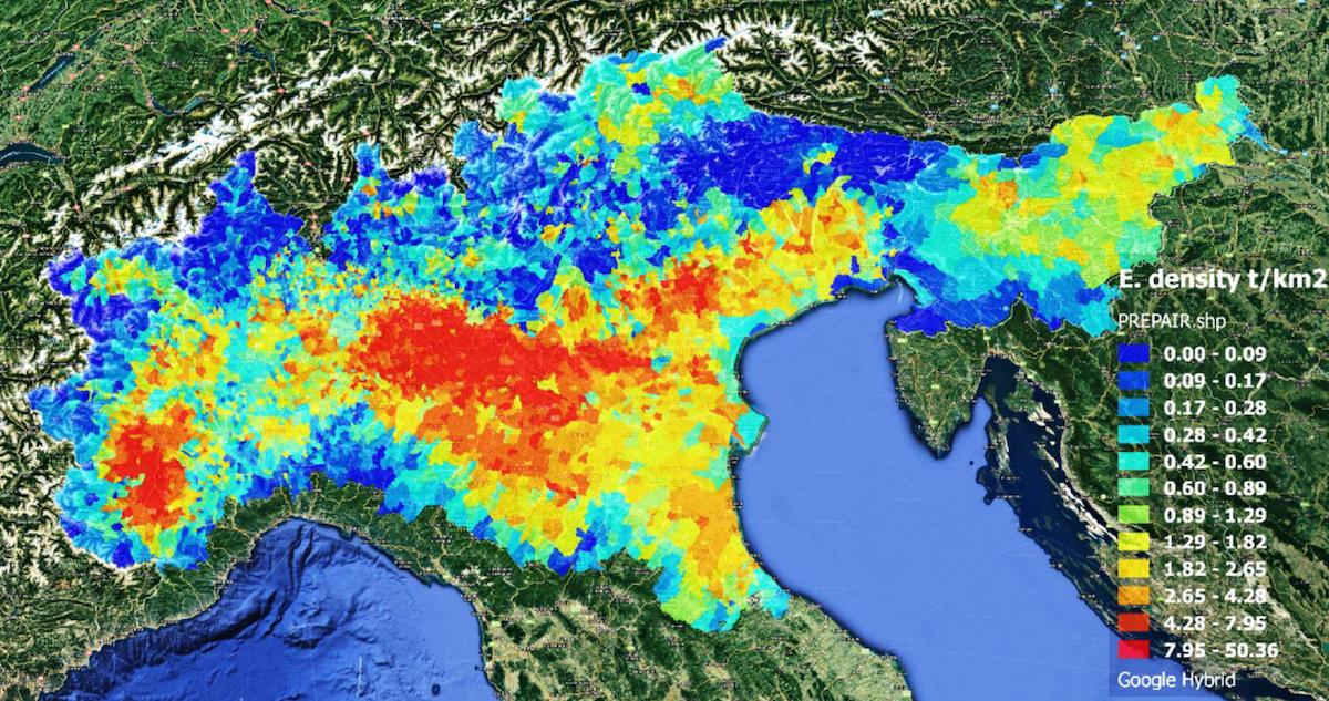 densità emissioni ammoniaca padania